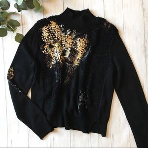Anthro Knitted & Knotted Wool Blend Sequin Sweater